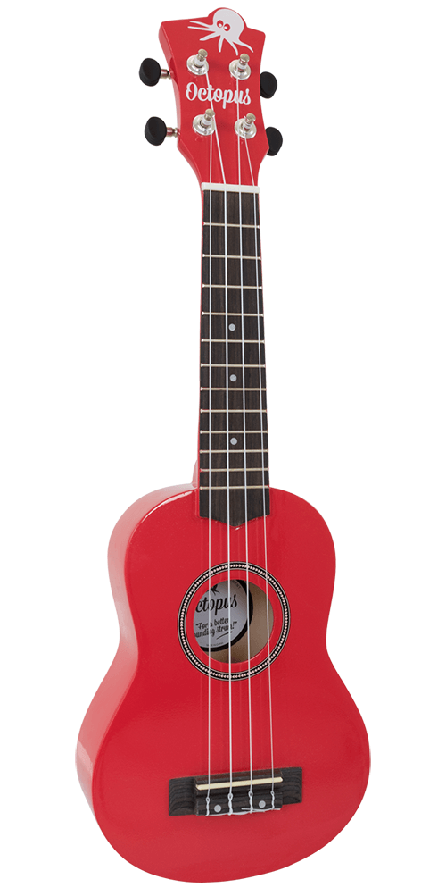 Octopus Soprano Ukulele inc Aquila Strings - Red
